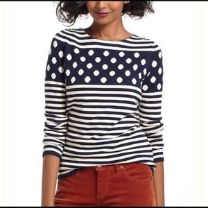 Anthropologie Sparrow Striped Polka Dot sweater M